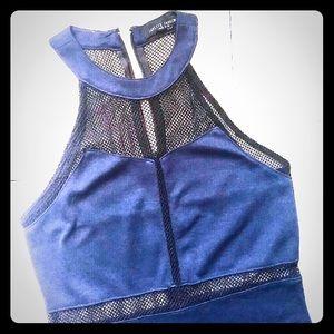Forever 21 Blue Black Mesh Bodycon dress